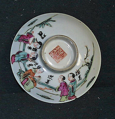 Antique Thickly Hand Painted Signed Chinese Figural Footed Sauce Bowl