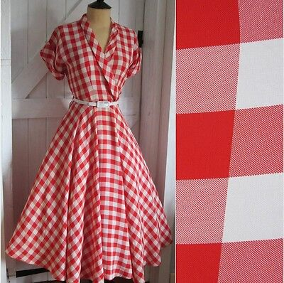 Original Vintage 50s Red & White Check Wrap Bodice Swing Dress Circle Skirt 10