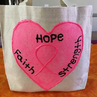 Handmade canvas tote bag Breast Cancer Awareness/Fashion/Accessories/Women/Men