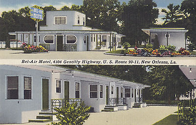 Bel-Air Motel NEW ORLEANS Louisiana 1930-45 A. Goldsmith Advertising Postcard