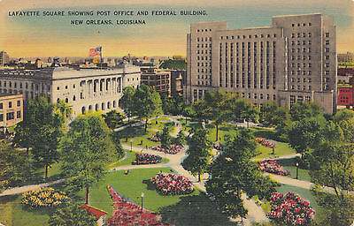 Lafayette Square NEW ORLEANS Louisiana News Co. U.S.A. 1930-45 Postcard