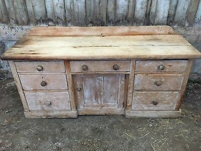 Rare large Victorian Pine Dresser with unusual thick pine top / kitchen