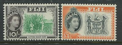Fiji 1959-61 QEII 10/ & £1 unmounted mint NH
