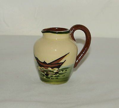 Torquay Pottery Traditional Dairy Shape Cream Jug With Sailing Boat Design