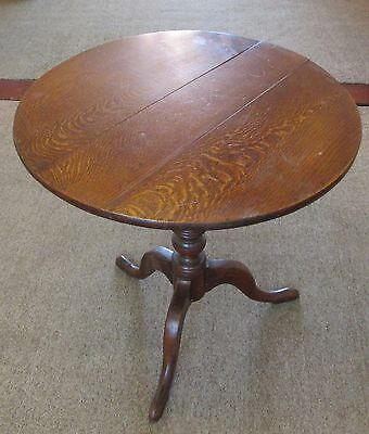 Antique Oak Round Tilt Table