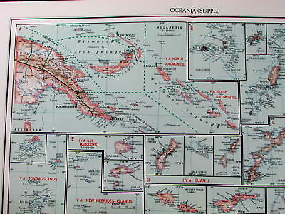 Christianity in Pacific islands Oceania Cook Marshall Guinea Tonga 1953 old map