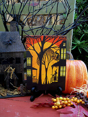 ORIGINAL painting folk art whimsical Halloween witch house black cat haunted
