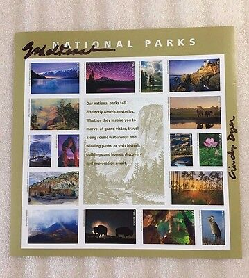 2016 National Park Stamp Full Pane of 16 Signed at World Stamp Show