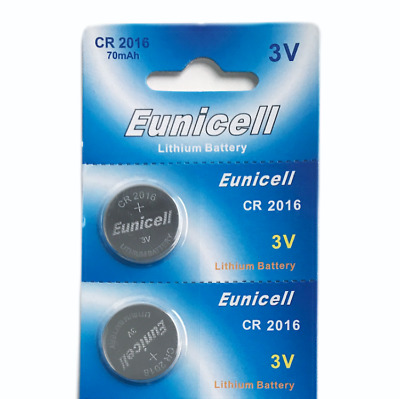 2 X Eunicell Cr2016 R2016 Dl2016 2016 3Lithium Button / Coin Cell Battery