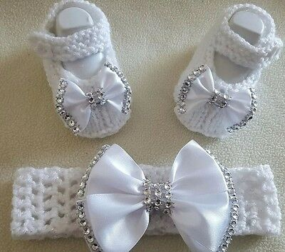 Hand knitted Romany Bling baby girls booties / Crochet headband.0-3 sparkle whit