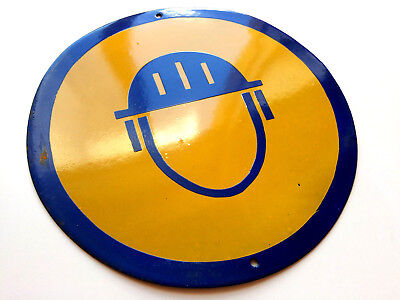 Vintage Tin Enamel Sign Porcelain Wear Hard Hat Helmet 1960's Big Size Rare