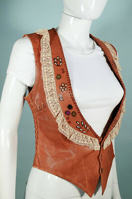 Vintage 70s Leather Vest by Char Handpainted Tooled Whip Stitched Hand Made S