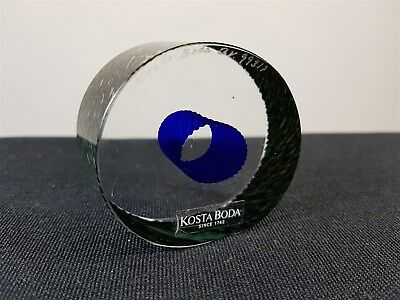 Vintage Kosta Boda Art Glass Paperweight Sculpture Blue & Clear Signed Numbered