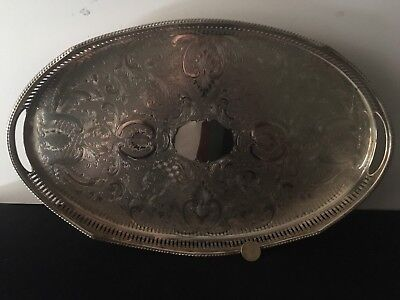 Nice Silver Plated Gallery Tray Crafted In Sheffield England