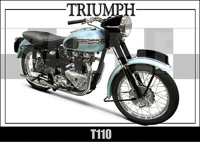 Triumph Tiger T110 (1954) Laminated Motorcycle Print / Motorcycle  Poster
