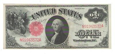 1917  One Dollar  United States Legal Tender Note Red Seal George Washington