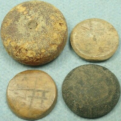 Lot Of 4 Ancient Bone / Glass Disc Gaming Pieces