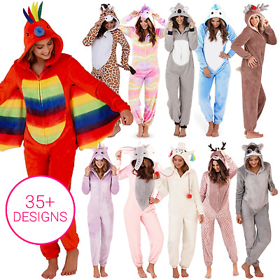 1Onesie All In One Hooded Pyjamas Pajama Set Fleece Women's Girls Animal Unicorn