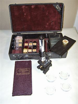 Antique Perfex Scientific Microscope Set With Accessories 1932