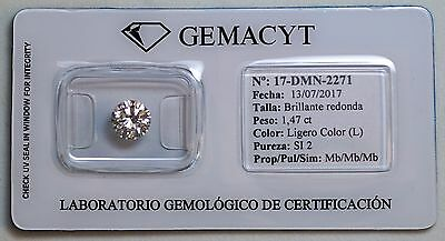 Diamante Talla Brillante Redonda 1,47 Ct Certificado Laboratorio Gema Cyt