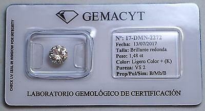Diamante Talla Brillante Redonda 1,48 Ct Certificado Laboratorio Gema Cyt