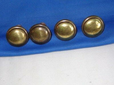 "Lot of 4 vintage brass knobs or cabinet door / drawer pulls, 1 1/8"" dia."