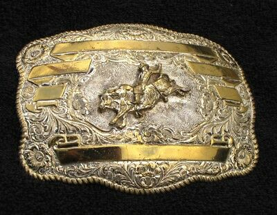 Rodeo Cowboy Trophy Champion Bull Riding Large Buckle