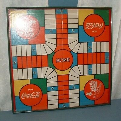 Vintage Coca Cola Professional Framed India Game Board W/ Boxed Pieces - Coke