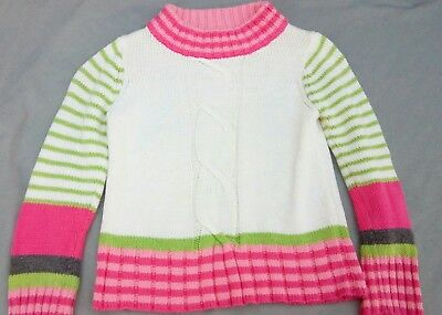 Girls Size Small (5-6) Gymboree Sweater Pink with Gray & Lime Green