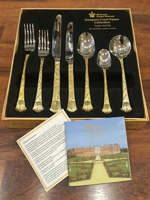 Maxwell Williams Hampton Court Palace Design Gold Plating 7 Piece Cutlery Set GB