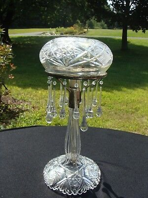 Antique Cut Glass Mushroom Lamp With Prisms 13 Inches Tall