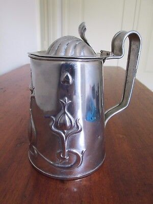 Antique Art Nouveau Nickel Plated Solid Copper Tankard England J S & S Art Metal