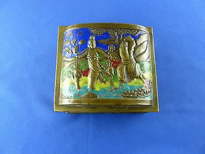 Antique early XX century brass enamel domed hinged box Chinese