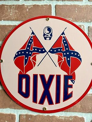 "Dixie Oil And Gasoline Porcelain 12"" Pump Plate Or Lubester Sign. Buy It Now. 😎"