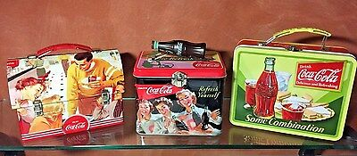 """3 Coca Cola Collectible Tin Lunchboxes 3 Styles - Train Case, Workman,  6""""X8"""""""