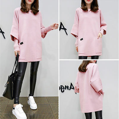 Plus Size M-4XL Women Pullover Tops Casual Long Sleeve Knitted Short Shirt Dress