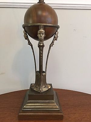 Unique Art Deco Figural Table Lamp Wood and Metal Reading Lamp 25""