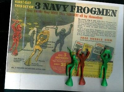 """3 Vintage 3.5"""" Tall Navy Frogmen Divers Kelloggs Cereal Premiums+ Copy Of Ad"""