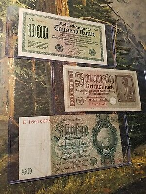 ORIGINAL 20-REICHSMARK!! 4pc LOT! NAZI BANKNOTE IN PROTECTIVE SLEEVE! 4PC W/GIFT
