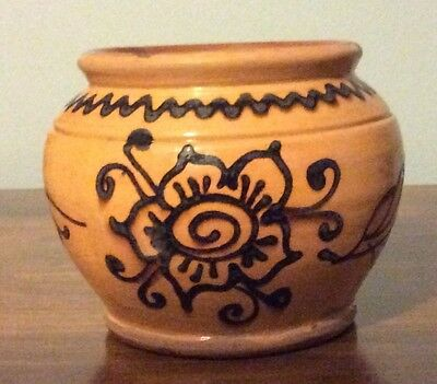 """CHRIS WOODS POT - 1995 Redware Pottery  -  """"Hello good day""""  -  WF #99 - Signed"""