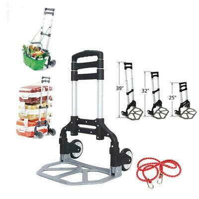170lbs Portable Folding Collapsible Aluminum Cart Dolly Push Truck Trolley