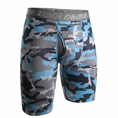 "NEW 2UNDR Gear Shift 9""  Long Leg Aqua Camo Boxer Briefs Mens X-Large (40-42)"