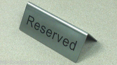 RESERVED Table Marker Place Card Sign Heavy STAINLESS Wedding Banquet Reserve