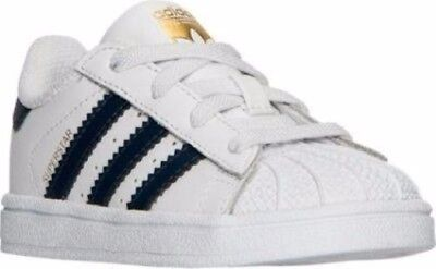 Kids Toddler adidas Superstar I Casual Shoes White/Navy/Gold BY3719