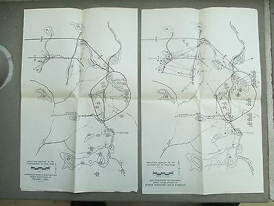Vintage 1943 WW II Fort Benning Set (2) Solution Sketchs Accompany TE 140A-140B