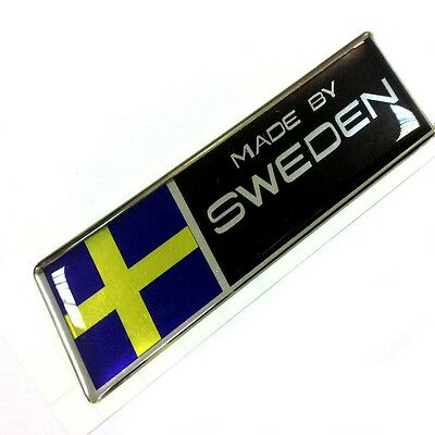 "MADE BY SWEDEN sticker polyurethane on the metallic film,  size of 3.94""x1.18"""