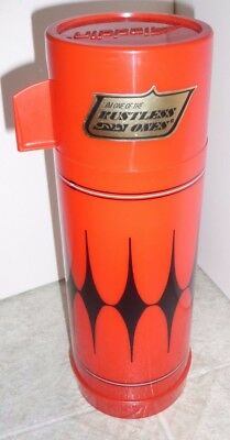 1 ALLADIN VANGUARD Red Black Diamond 1 Quart Thermos The Rustless One With Label