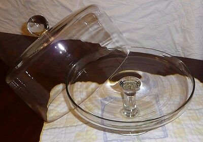 "Pedestal Cake Stand With Dome Lid Clear Glass 11.75"" Tall x 10.75"" Wide 2 Piece"