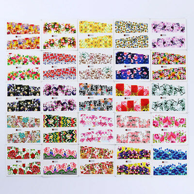 50Sheets Nail Water Decals Rose Flower Sky Nail Art Transfer Stickers Decoration