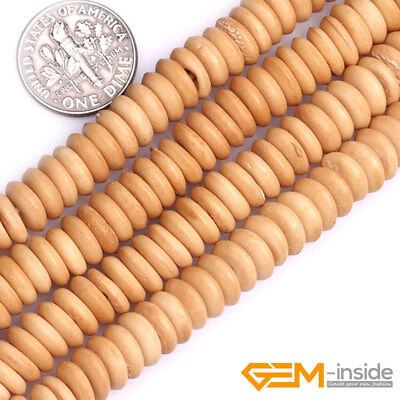 2mm Big Hole Hand-Carved Donut Bone Rondelle Heishi Spacer Jewelry Making Beads